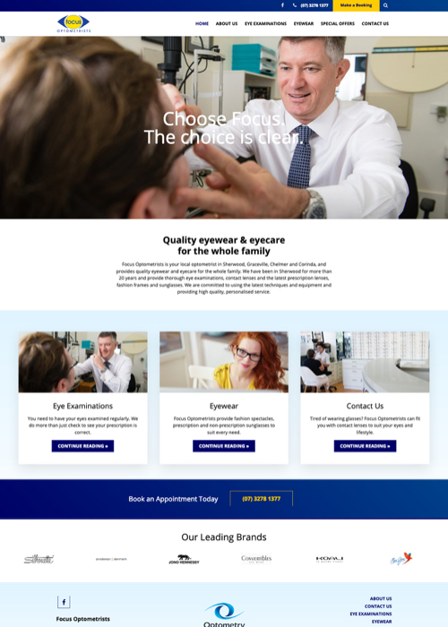 Focus Optometry website