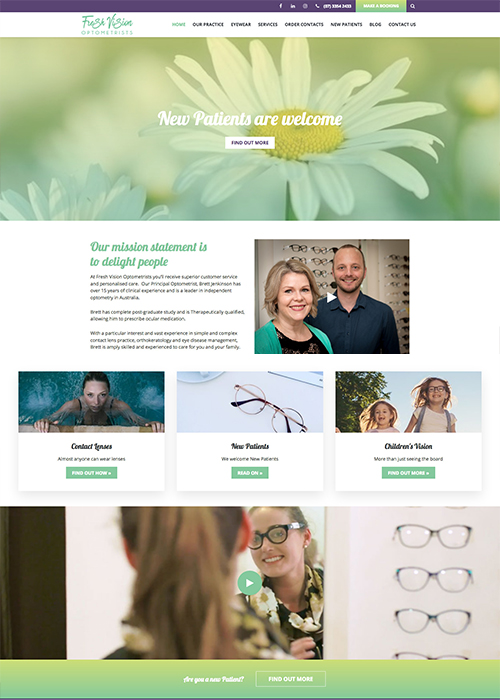 Fresh Vision optometrists - websites for optometrists