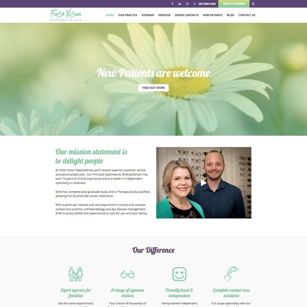 Freshvision optometrists - websites for optometrists