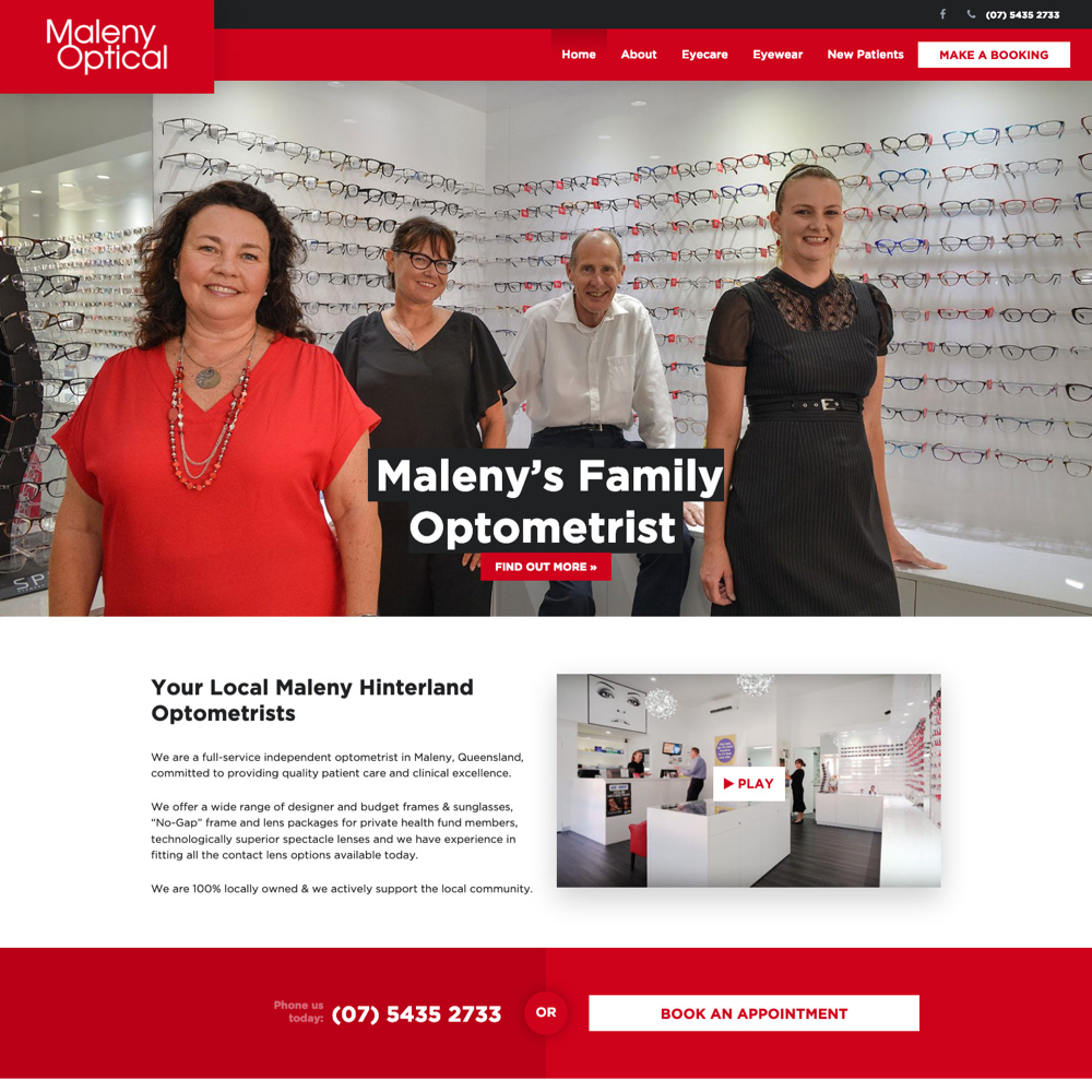 Maleny Optical optometrists - websites for optometrists
